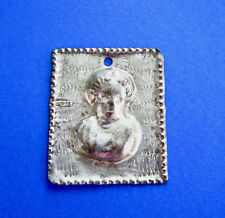 "Vintage Milagro Raised Woman's Head Ex-Voto Silver Tin 1 1/2"" by 1 5/8"" Peru"