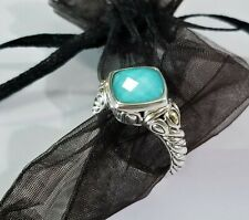 John Hardy JAI Turquoise Doublet 14K Gold & Sterling Silver Ring - size 8 - MINT