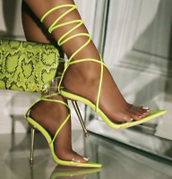 Cape Robbin Nobu Yellow Clear Strap Pointed Toe Tie Up Stiletto Heeled Sandal