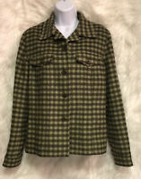 TALBOTS Blazer Jacket Green Plaid Wool Blend Women's Sz 12 - EUC