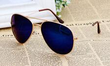 GOLD Frame Blu a Specchio Lente Aviatore Retrò Classico Occhiali Da Sole UV400 Uomo Donna