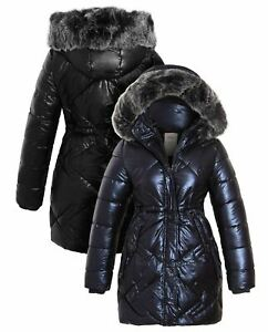 Girls Padded Parka Coat Ages 14 7 8 10 11 12 13 Years Jacket Faux Fur Black Navy