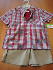 INFANT BOYS 3PC T-SHIRT, BUTTON DOWN SHIRT AND SHORTS SET SIZE 24 MONTHS  NWT