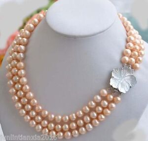 3 ROW New Charming! 7-8mm Natural South Sea pink Pearl Necklace 18-20''
