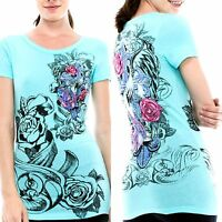Vocal Top Size S M L XL Blue Cross Tribal Roses Crystal Bling Womens Shirt New