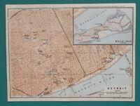 """DETROIT & Belle Isle Michigan Town Plan - 1909 MAP Baedeker 6 x 8"""" (15 x 20 cm)"""