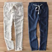 Casual Mens Linen Straight Trousers Elastic Waist Beach Summer Pants Slim Fit