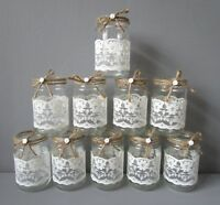 10 Vintage Glass Jars Vases Centre Pieces Shabby Chic Rustic Wedding Lace