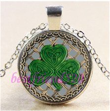 Gary Shamrock And Celtic Knots Cabochon Glass Tibet Silver Pendant Necklace#CA22