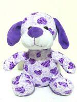 Animal Hugs Puppy Dog Purple Heart Print Soft Plush Stuffed Kids Doll Toy 23cm