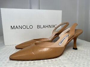 MANOLO BLAHNIK Carolyne Nude Beige Slingback Heels Sz 35.5 US 5.5 Original Box