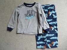 Carters Boys 2 Piece Blue Gray Space Shirt Pants Fleece Pajama Set Size 4 VGUC