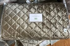 Pottery Barn Nia Velvet Quilt Set Bronze Queen 2 Standard Shams Diamond Brown