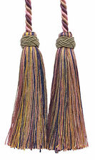 "Pink Green Lt Green 4"" Double Tassel Tieback Dusty Olive Rose [Invidual]"