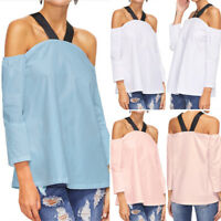 Sexy Women Halter Neck Off Shoulder Long Sleeve Casual Loose Top Shirt Blouse