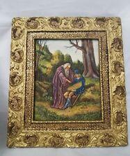 VINTAGE SCULPTURED ARTINI ENGRAVING FRAMED ART Handpainted
