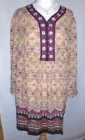 Ulla Popken NEW Embroidered & Beaded MultI colour LOOSE-FIT TUNIC Size 12/14