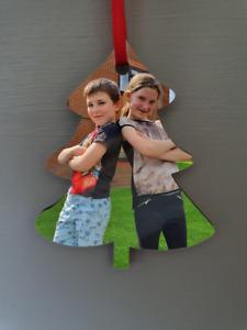 WOODEN Christmas Tree photo hanging decoration