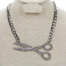 Silver Tone Rhinestone Large Scissor/Comb Pendant Necklace Hair Stylist Jewelry
