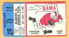 9/6/80 ALABAMA/GEORGIA TECH FOOTBALL TICKET STUB