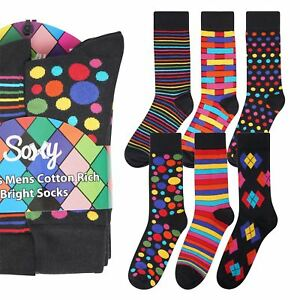 6 Pairs Mens Soxy Vivid Designer Odd Socks Size 6-11 Stripes Spots Bright Gift