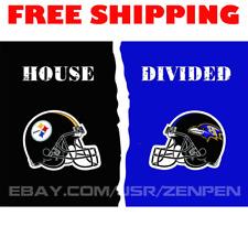 Pittsburgh Steelers vs Baltimore Ravens House Divided Flag Banner 3x5 ft 2019