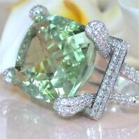 925 Silver Prehnite & White Topaz Elegant Wedding Engagement Ring Jewelry Sz6-10