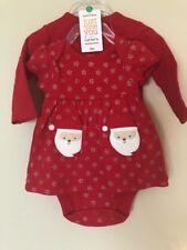 Carters 3 Month Santa Baby Dress Snowflakes Long Sleeved Red Cardigan