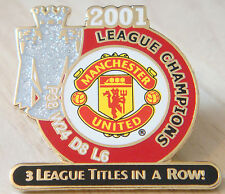 MANCHESTER UNITED Victory Pins 2001 PREMIER LEAGUE CHAMPIONS Badge Danbury Mint