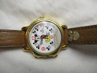 Lorus Mickey Mouse Watch Brown Buckle Band Gold Toned Collectible