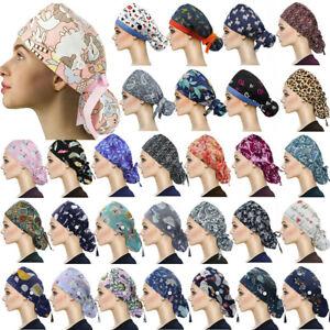 KESYOO Women Scrub Caps Men Adjustable Scrub Hats Sweat Absorption Doctor Nurse Hat Print Dental Working Cap