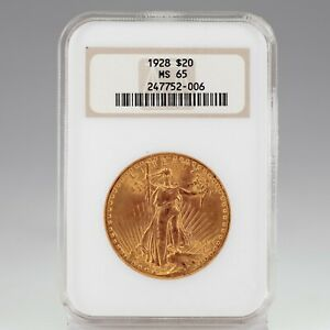 1928 $20 St. Gaudens Gold Double Eagle Graded by NGC as MS-65! Old Holder!