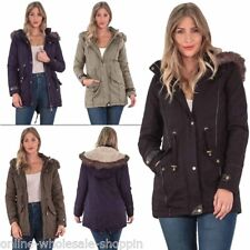 Ladies Hooded Jacket Womens Parka Long Sleeve Outwear Winter Coat 2 Lower Pocket