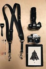 Caméra harnais double caméra bandoulière véritable cuir noir caméra sangle