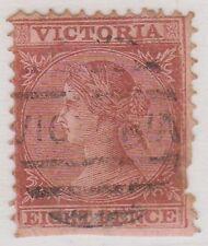 (DZ-208) 1865 VIC 8d brown on pink (pulled perf R/H side) (Y)