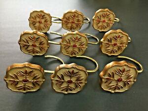 Red Gold Desinged Rasin Shower Curtain Hook Hooks Ring Rings Set Of 9