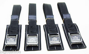 4-pack of 1.0m TOUGH PADDED Cam Buckle Straps Black - Small Lashing Strap Cargo