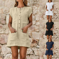 Womens Summer Casual Solid Color Button Dress Pocket Short Sleeve Mini Dress