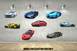 Hyper Sports Cars Mixed Multi Pack Childrens Wall Stickers Decals 4 Sizes
