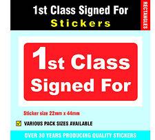 Pack 200 Leuchtend Rot '1. Klasse Signiert Für 'Post Sticker/Etikett 22 x 44mm