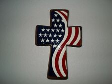 004* WOODEN WALL CROSS WITH CERAMIC FLAG IN RED WHITE & BLUE WITH STARS