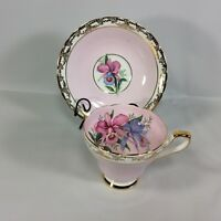 H M Sutherland Tea Cup Saucer Pink Orchid Purple Gold Chintz Vintage Pretty