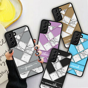 PERSONALISED GLITTER MARBLE Phone Hard Case Cover For Samsung S21 Plus Ultra