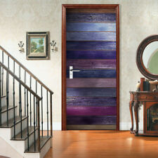 3D Wall Art Colorful Wood Plank Door Sticker PVC Decal Self-adhesive Wrap Mural