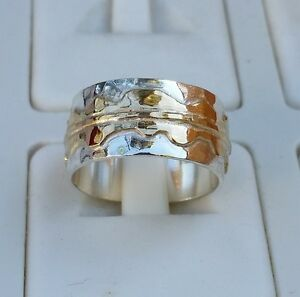 Wedding Ring Silver And Gold ,Handmade Wedding Band ,Silver 14K Bridal Ring
