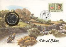 superbe enveloppe ILE ISLE OF MAN pièce monnaie 10 P NEW NEUVE 1984 MOTO