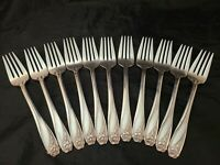 Set 11 x Salad Forks 1847 Rogers International Silver Daffodil 1950 silverplate