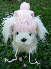 S handmade knit Pink dog hat