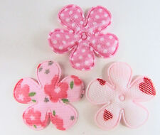 "60 Baby Pink 1.5"" Fabric Flower Applique/dots/floral/heart/sewing/trim/bow H230"