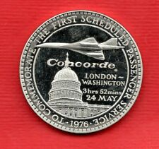 CONCORDE MEDAL / MEDALLION. 1st PASSENGER SERVICE, LONDON - WASHINGTON 1976.
